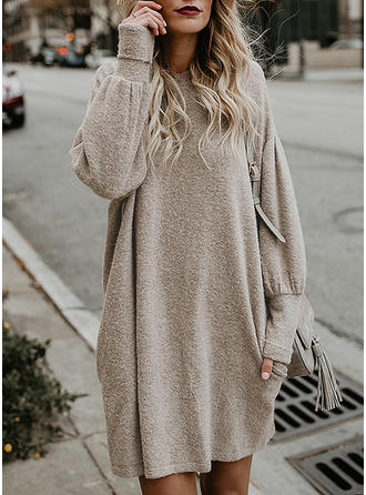 Solid Round Neck Above Knee Shift Dress