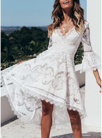 Lace/Solid 3/4 Sleeves/Flare Sleeves A-line Asymmetrical Casual/Vacation Dresses