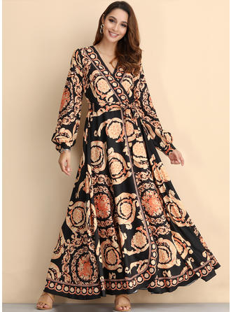 Print Long Sleeves A-line Maxi Casual/Party/Boho/Vacation Dresses