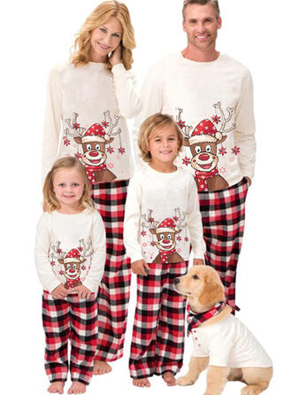 Reindeer Plaid Cartoon Family Matching Christmas Pajamas