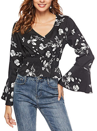 Print V Neck Flare Sleeve Long Sleeves Casual Elegant Blouses