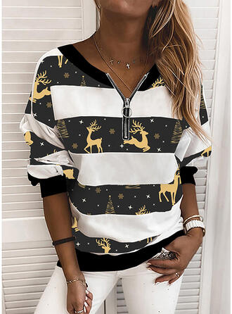 Color Block Animal Print V-Neck Long Sleeves Christmas Sweatshirt