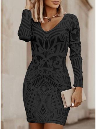 Imprimée Manches Longues Moulante Au-dessus Du Genou Petites Robes Noires/Élégante Robes