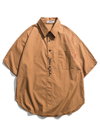 Mænd Solid Color Hawaii Beach Shirts