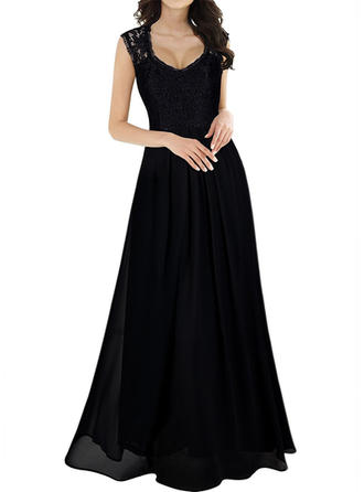 Polyester With Stitching/Solid Maxi Dress