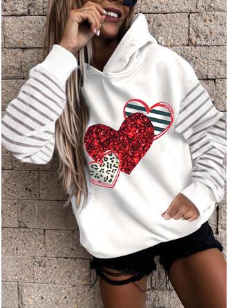 Impresión raya Leopardo Corazón Manga Larga Sudadera Con Capucha