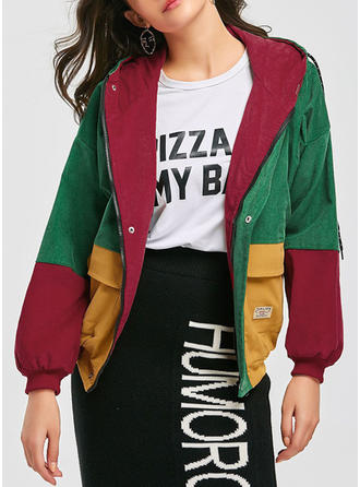 Polyester Long Sleeves Color Block Jackets