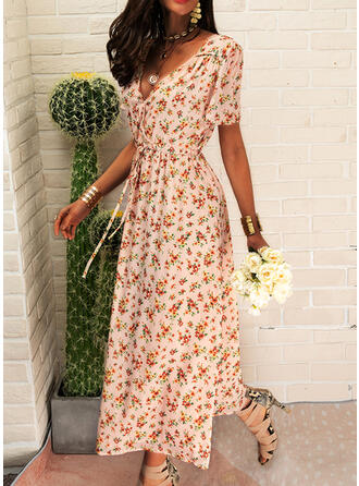Print/Floral Short Sleeves A-line Wrap/Skater Casual/Boho/Vacation Midi Dresses