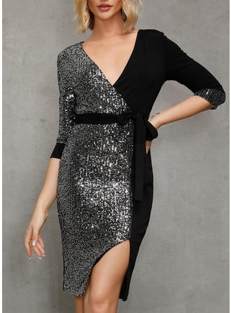 Sequins/Solid Long Sleeves Sheath Knee Length Sexy/Party Dresses