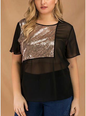 Patchwork Sequins Round Neck Short Sleeves Plus Size Sheer Blouses