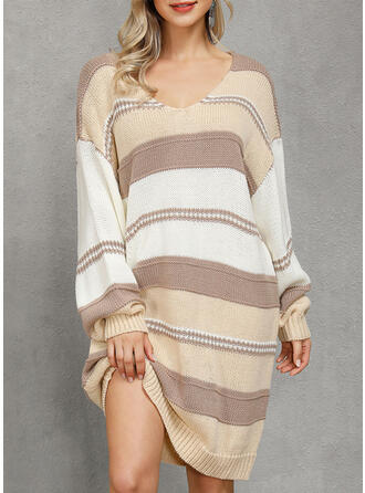 Color Block Cable-knit Chunky knit One Shoulder Casual Long Sweater Dress