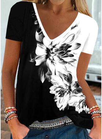 Bloc de Couleur Fleurie Imprimé Col V Manches Courtes T-shirts