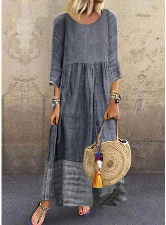 Print 3/4 Sleeves Shift Maxi Casual Dresses