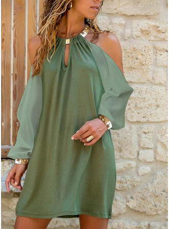 Solid/Backless Long Sleeves Shift Above Knee Sexy Tunic Dresses