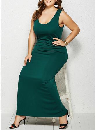 Solid Sleeveless Sheath Casual/Plus Size Maxi Dresses