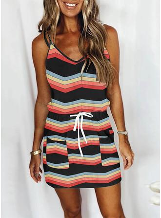 Striped Sleeveless Sheath Above Knee Casual Slip Dresses