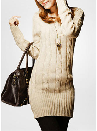 Knit V-neck Plain Sweater