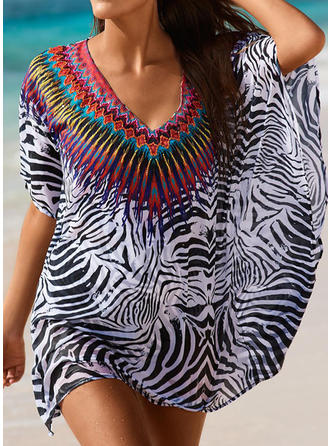 Beautiful Print V-neck Cover-ups Swimsuit