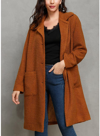 Faux Fur Long Sleeves Plain Wide-Waisted Coats Faux Fur Coats