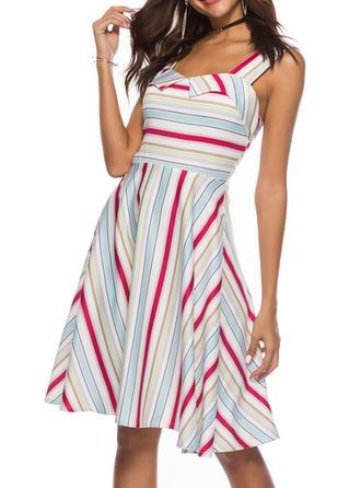 Striped Strap Knee Length A-line Dress