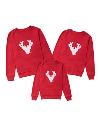 Reindeer Print Brushed Lining Family Matching Sweatshirts