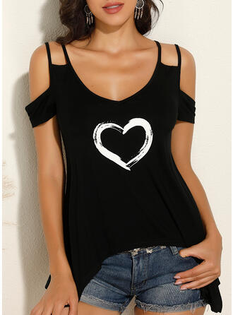 Print Heart Cold Shoulder Short Sleeves Casual Blouses (1003295542)