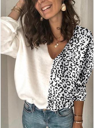 Animal Print Patchwork V neck Sweaters
