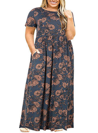 Print/Floral Short Sleeves A-line Casual/Elegant/Plus Size Maxi Dresses