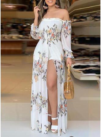 Floral Print Off the Shoulder Long Sleeves Elegant Party Jumpsuit