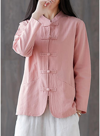 Solid Stand-up Collar Long Sleeves Button Up Casual Blouses