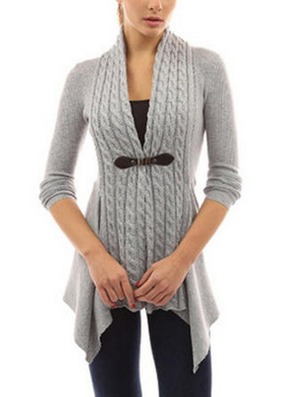 Polyester V-neck Couleur unie Cardigan