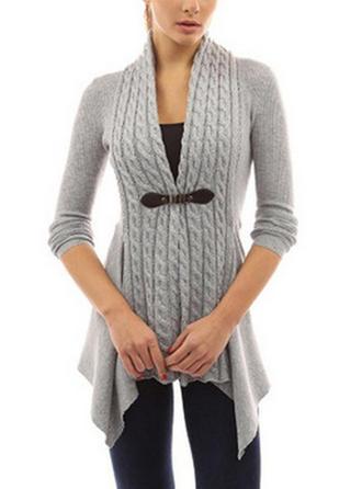Robienie na drutach Długie rękawy Jednolity kolor Slim Fit Płaszcze