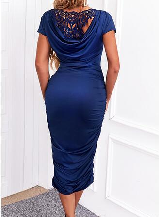 Egyszínű Δαντέλα Rövidujjú Testre simuló ruhák Ołówkowa Κομψός Midi φορέματα