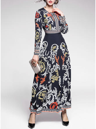Print Long Sleeves A-line Maxi Boho Dresses