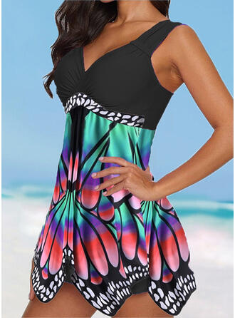 Splice color Tropical Print Ruffles Strap V-Neck Plus Size Colorful Eye-catching Casual Swimdresses Swimsuits