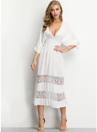 Lace/Solid 3/4 Sleeves A-line Midi Casual Dresses