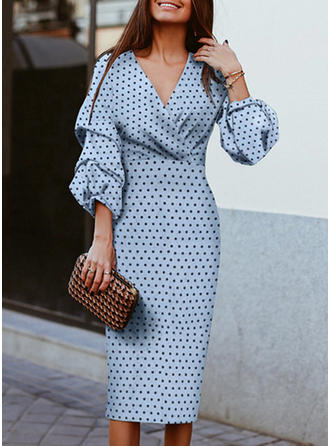 PolkaDot 3/4 Sleeves Sheath Midi Casual Dresses
