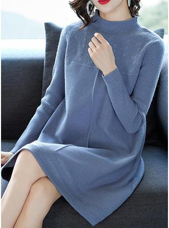 Bawełna Stań kołnierz Jednolity kolor Sukienka sweterkowa
