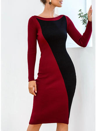 Color Block Long Sleeves Bodycon Knee Length Casual/Elegant Dresses