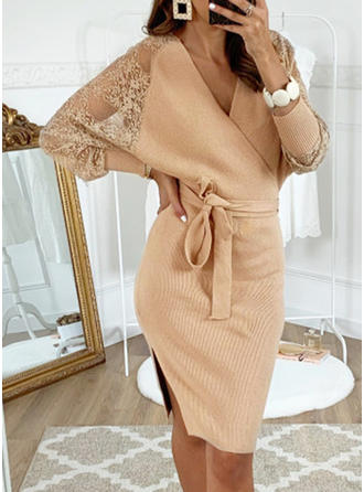 Solid Long Sleeves Bodycon Midi Casual/Party Dresses