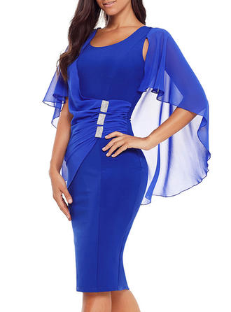 Solid Split Sleeve Bodycon Knee Length Party Dresses