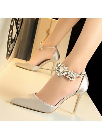 Dla kobiet PU Obcas Stiletto Czólenka Z Kryształ Klamra obuwie