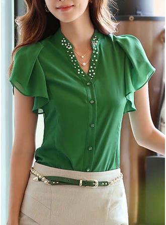 Chiffon V Neck Plain Short Sleeves Button Up Blouses