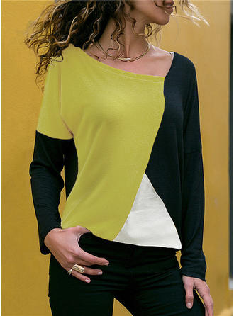 Color Block V Neck Long Sleeves Blouses