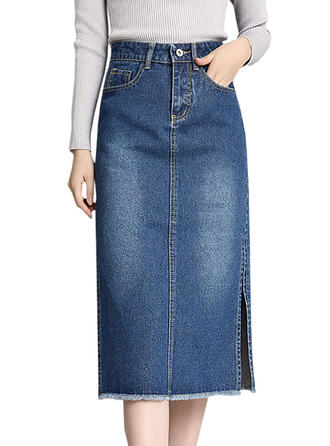 Denim Plain Mid-Calf Demin Skirts Pencil Skirts