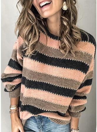 Blok Kolorów Prążkowana dzianina Okrągły dekolt Swetry