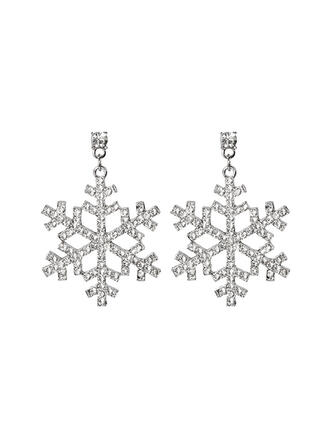 Snowflake Alloy Rhinestones Women's Earrings 2 PCS