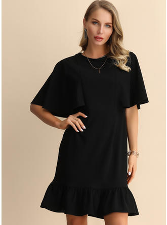 Solid 1/2 Sleeves/Batwing Sleeves A-line Knee Length Little Black/Casual/Elegant Dresses