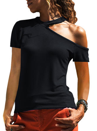 Solid One-Shoulder Short Sleeves Casual Sexy Knit Blouses