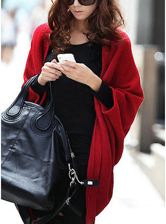 Knitting Long Sleeves Plain Wide-Waisted Coats